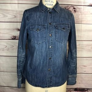 Madewell denim cowgirl blouse long sleeve size xs